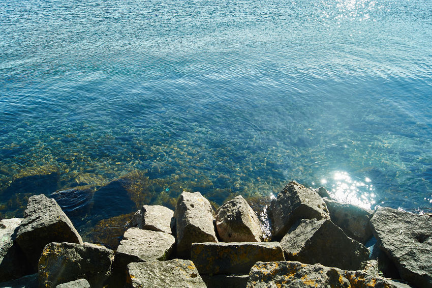 stones at a random lake Mecklenburger Seenplatte Nature Rock Rock Formation Sea Sony Alpha 58 Sunlight Sunlight On Water Water