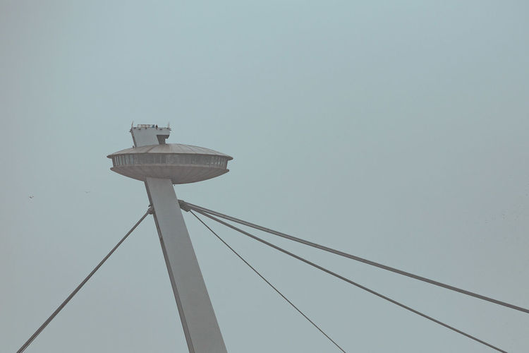 The SNP bridge Low Angle View Sky Connection Clear Sky Copy Space Technology No People Nature Cable Tower Day Built Structure Architecture Outdoors Blue Tall - High Power Supply UFO Bridge Minimalism Cold 17.62°