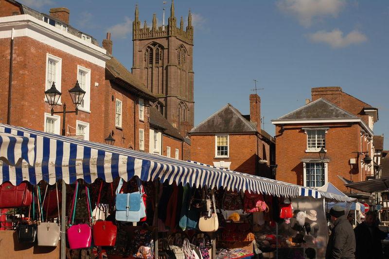 Purses hanging for sale in flea market