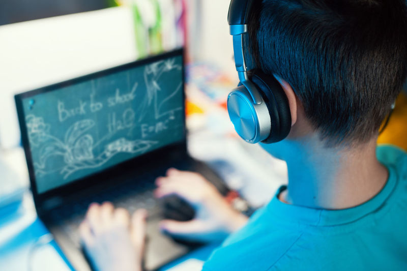Rear view of boy using laptop at home