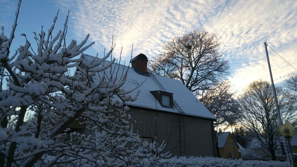 Winter day Winter Day Tree House Snow Sky Nature Outdoors No People Light Trees Clouds Beauty In Nature Stockholm Sweden Godaminnen White