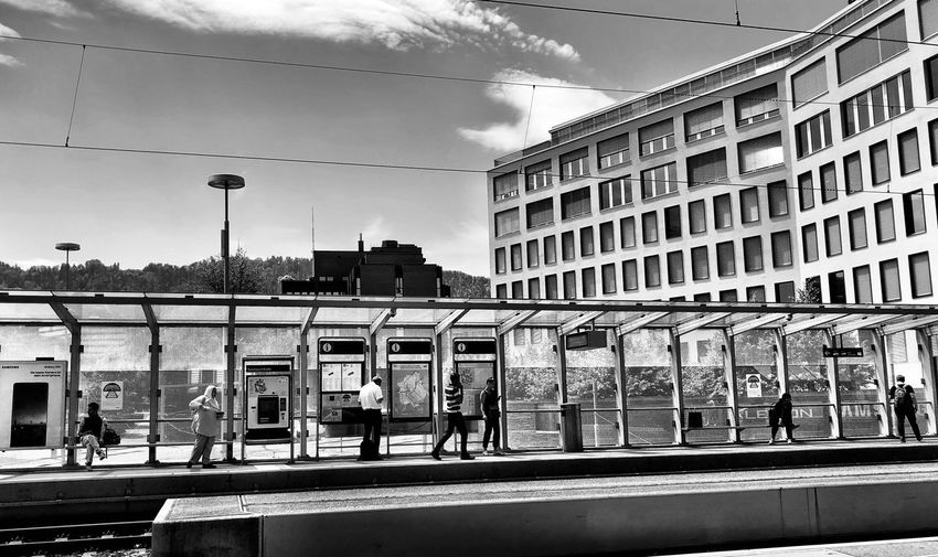 Trainstation Built Structure Building Exterior Architecture Sky Cloud - Sky Nature Day City Sunlight Transportation Mode Of Transportation Connection Motion Railing Street Outdoors