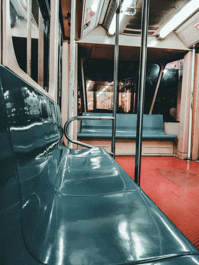 Empty seats in glass window
