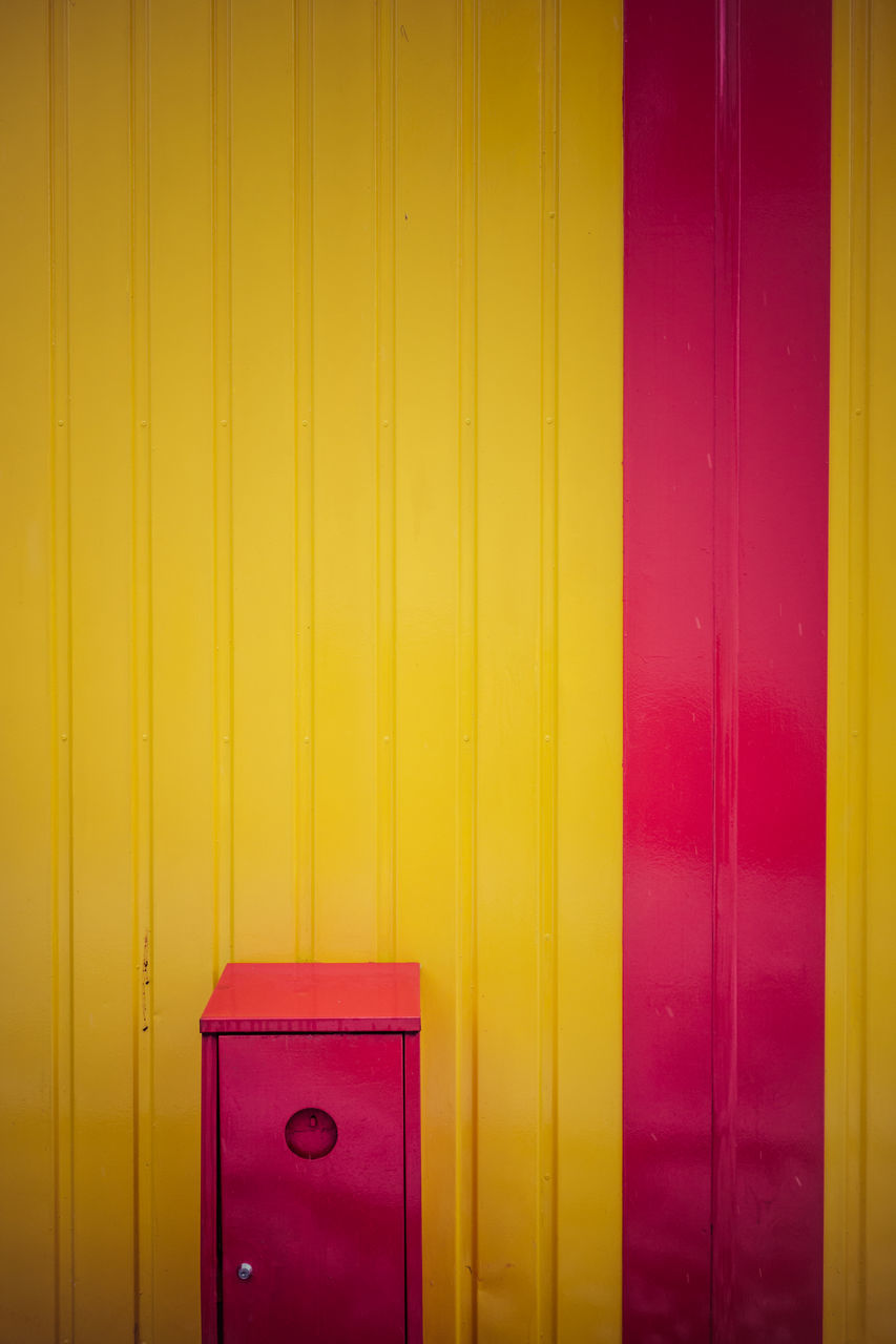 yellow, door, no people, multi colored, indoors, close-up, built structure, day, architecture