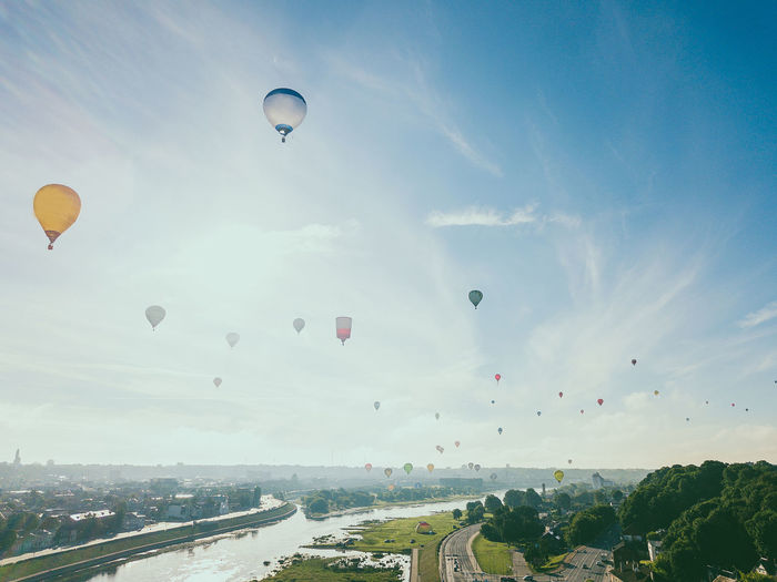 Hot air balloons over Kaunas DJI X Eyeem Drone  Hot Air Balloons Lietuva Adventure Air Vehicle Architecture Balloon Ballooning Festival Building Exterior Built Structure City Environment Europe Extreme Sports Flying Hot Air Balloon Mavic Pro Mid-air Mode Of Transportation Nature Outdoors Sky Transportation Travel The Great Outdoors - 2018 EyeEm Awards