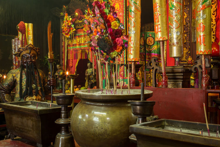 Image from Man Mo temple, Hong Kong Man Mo Man Mo Temple Altar Architecture Art And Craft Belief Building Built Structure Incense Indoors  Joss Sticks No People Ornate Place Of Worship Religion Religious Equipment Representation Sculpture Shrine Spirituality Statue Temple Temple - Building