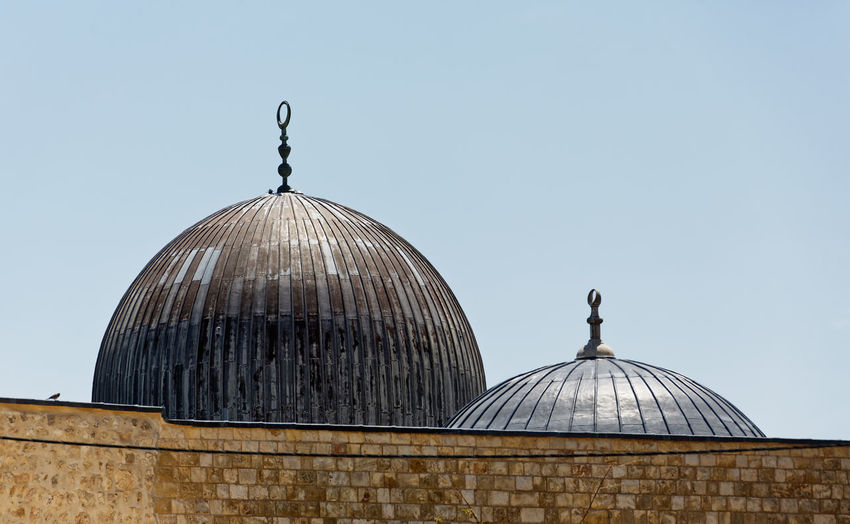 High section of al-aqsa mosque against clear sky