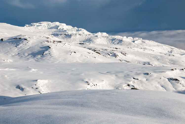 Mount kilimanjaro crater covered with snow