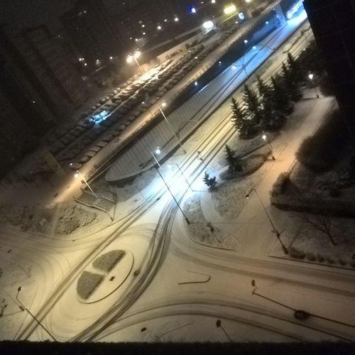 Sníh na Barrandove Snih Silnice Koleje Cesta Kruhac Praha Lampy Prague Czech Snezi Snow Road Tramstation