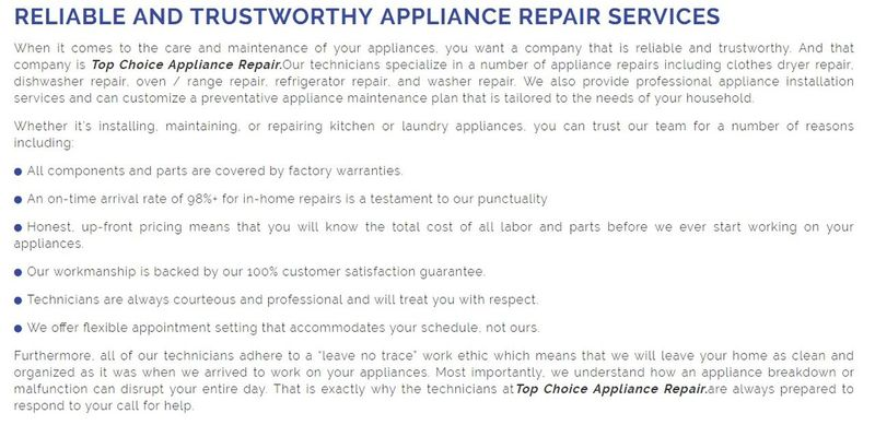 Top Choice Appliance Repair 7050 Weston Rd #240 Woodbridge, ON L4L 8G7 (289) 236-2262 Appliance Repair Service Woodbridge Appliance Repair Woodbridge Refrigerator Repair Woodbridge Small Appliance Repair Service Woodbridge Small Appliance Repair Woodbridge