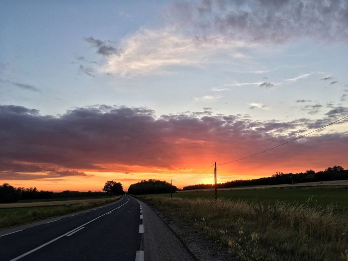 Road The Way Forward Sunset Sky Cloud - Sky Transportation Landscape Nature No People Tranquil Scene Scenics Tranquility Outdoors Beauty In Nature Tree Day