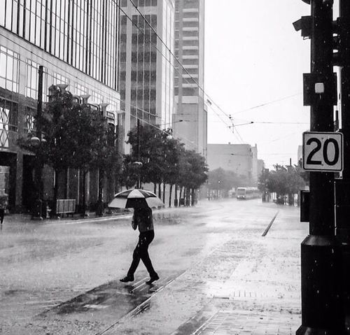 Dallas Downtown Rain Blac&white
