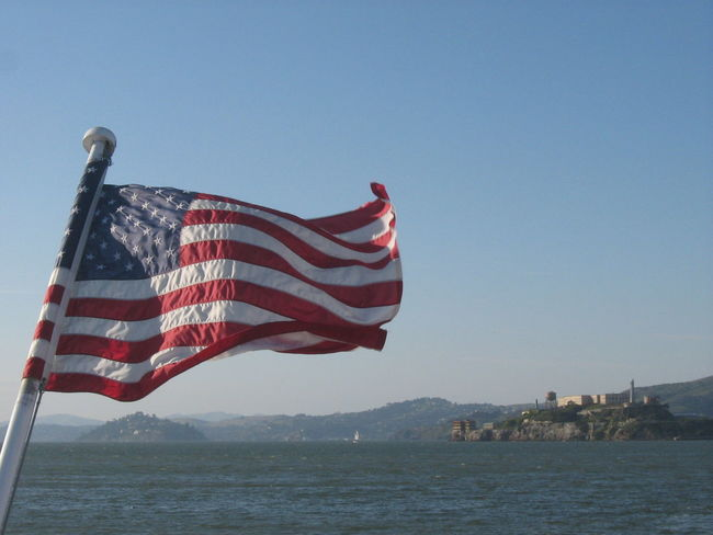 Alcatraz Alcatraz In Sight Alcatraz Island American Flag Flag Island Islands Landmarks San Francisco Seeing The Sights