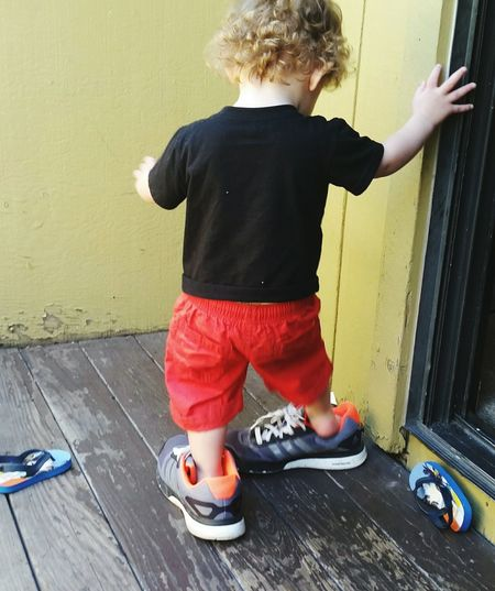 Walking Walking In Daddys Shoes Child One Person Shoes Children Only Boys Close-up Portrait Cute Childhood Grandson Mommysboy Reno, Nevada Outside My House Summer Toddler  The Portraitist - 2017 EyeEm Awards Out Of The Box Live For The Story The Week On EyeEm