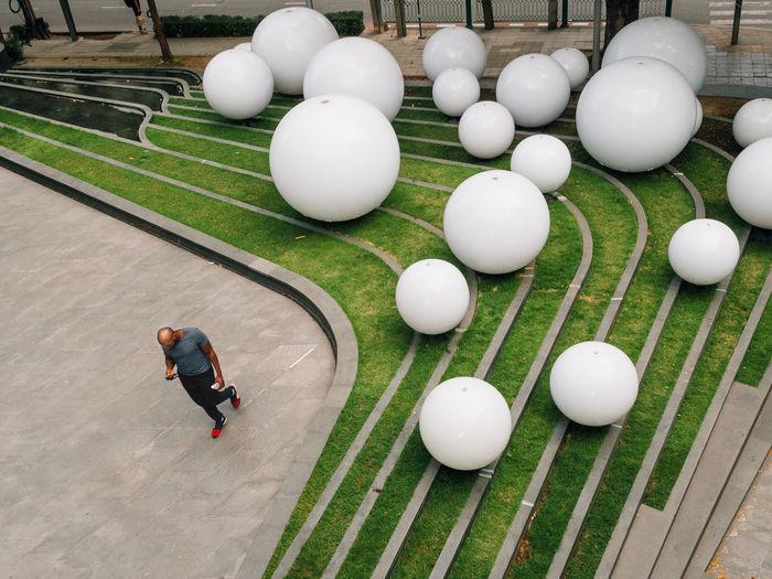 High angle view of balls on ball