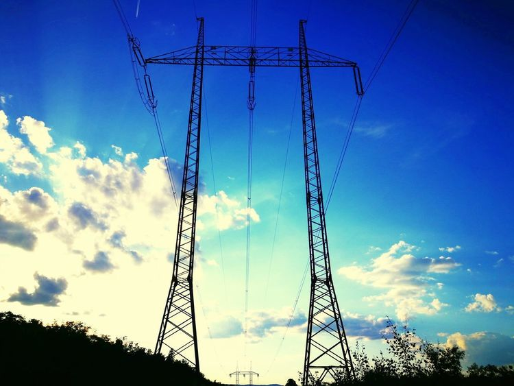 Azure Sky Cloud - Sky Electricity  Low Angle View Fuel And Power Generation Technology Power Supply Electricity Pylon Power Line  Blue Outdoors No People Freshness Backgrounds Blue Skies Blue Sky White Clouds Blue And White Azure Sky