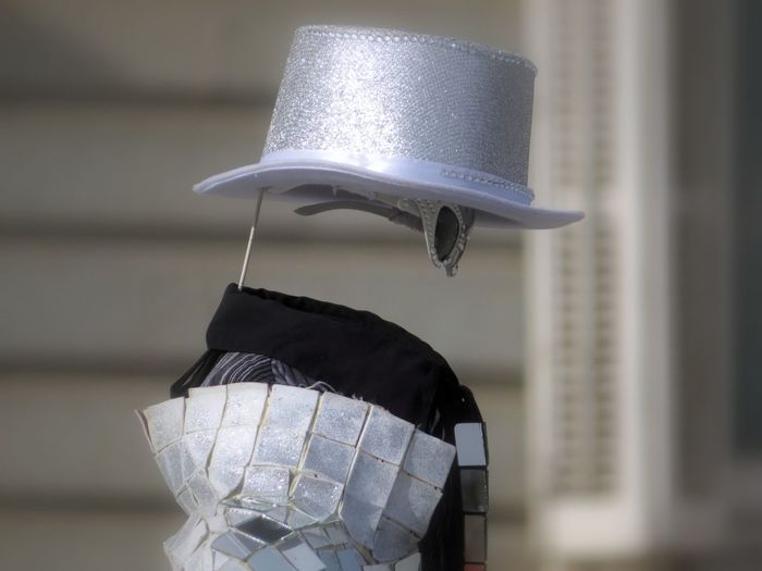 Close-up of invisible street performer
