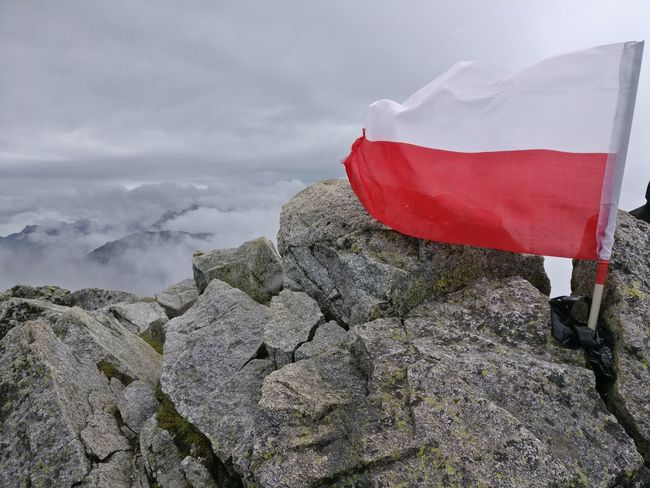 Flag Mountain Cloud - Sky Day No People Outdoors Nature Sky Hiking Windy Rocks Summit View Summit Poland Landscape Fog Adventure Clouds Tatra Mountains Nature Obscured View Distant Mysterious