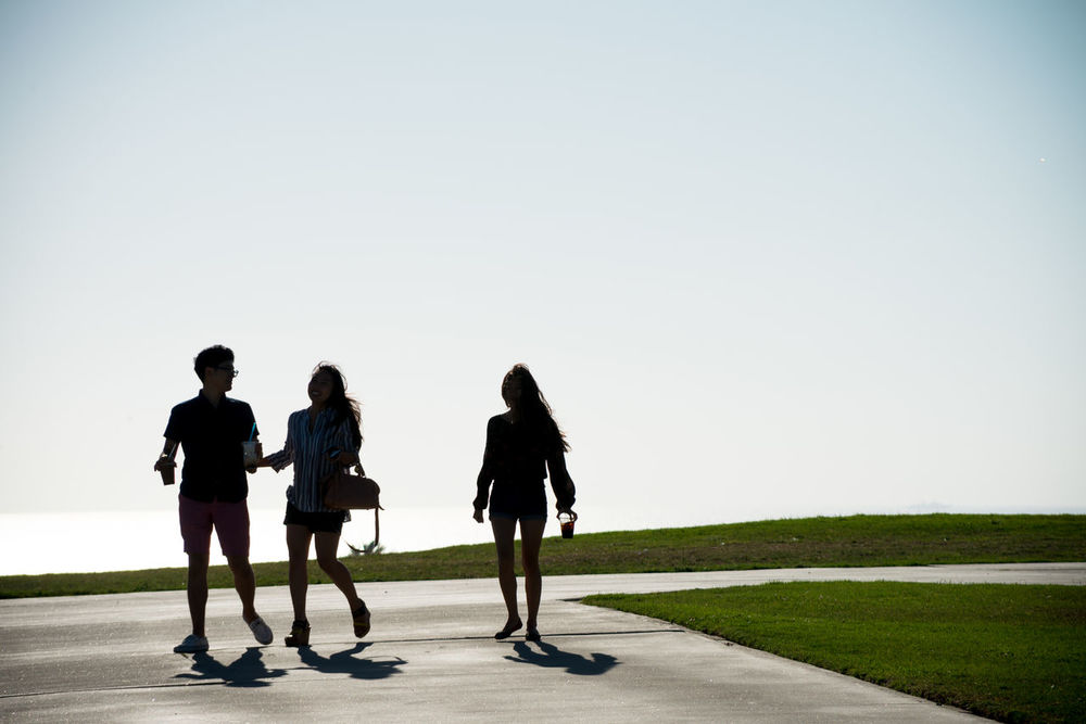 Silhouettes of three people against the blue sky Day Full Length Grass Leisure Activity Lifestyles Nature Outdoors Outdoors Photograpghy  People People Photography Road Silhouette Silhouettes Silhouettes Of People Sky The Third Wheel The Way Forward