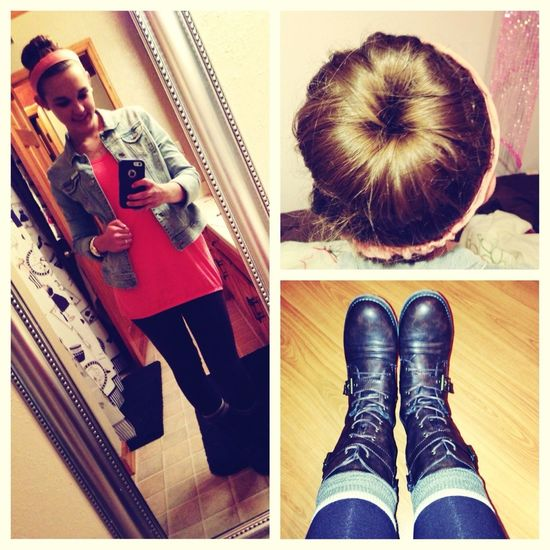 Combat boots and a sock bun. #ootd✌