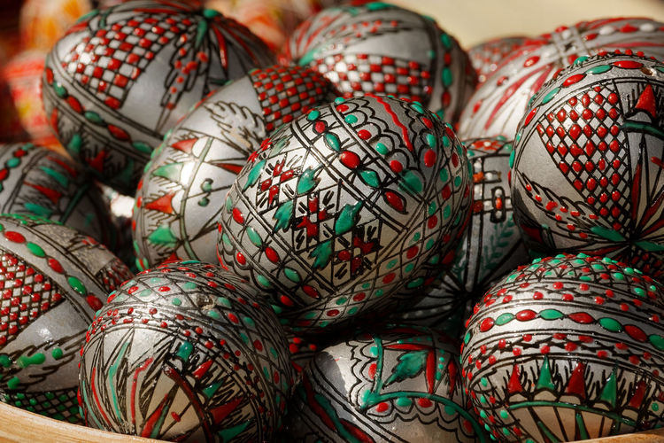 Close-Up Of Decorated Easter Eggs