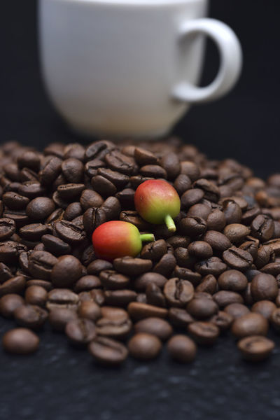 Fragrant pure delicious coffee beans Advanced Coffee Coffee Fruit Abundance Bake Black Background Close-up Coffee Bean Coffee Beans Coffee Cup Day Delicious Featured Food Food And Drink Fragrant Freshness Healthy Eating Indoors  Large Group Of Objects Need No People Raw Coffee Bean Selective Focus Still Life
