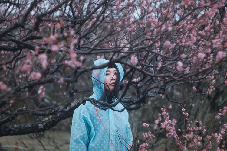 Rainy plum Rain Girl Colorful Colors Fashion Front View Nature Young Adult Protruding