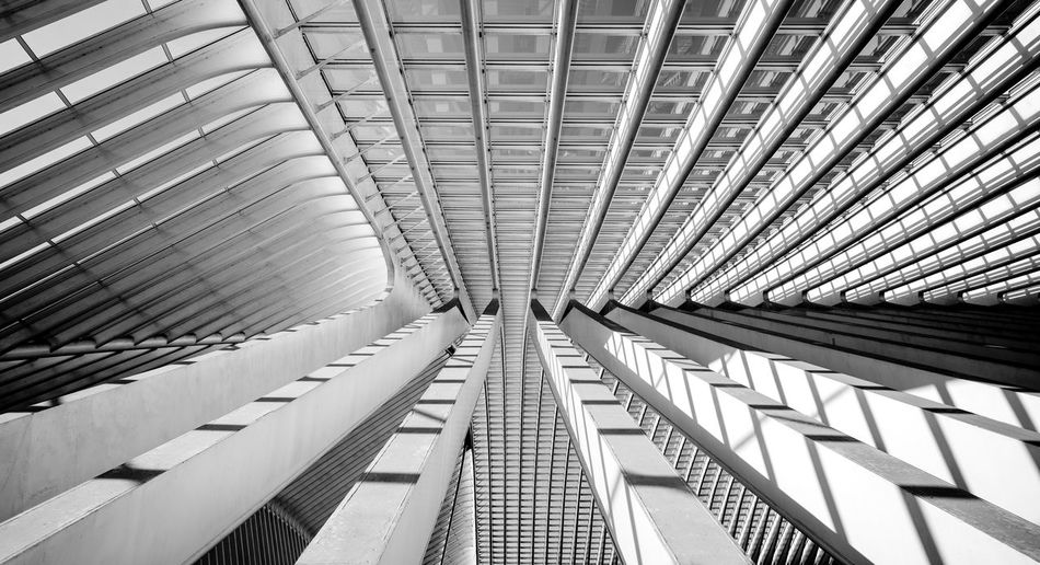 Modern architecture closeup Architecture Built Structure Pattern Indoors  Ceiling Modern Low Angle View Architectural Feature No People Day Full Frame Backgrounds Metal Building Diminishing Perspective Design Sunlight Directly Below Architectural Column Office Building Exterior Architecture And Art Bnw Black And White Reinaroundtheglobe