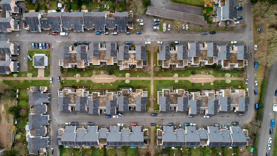 Aerial photo of houses in a residential district of Nantes city, France Nantes Loire Atlantique France Europe House Home Architecture Day No People Cemetery Aerial View City Motor Vehicle Car Building Exterior In A Row Residential District Street Urban Geometry Aerial Photography Vertical Symmetry Above Repetition Pattern, Texture, Shape And Form