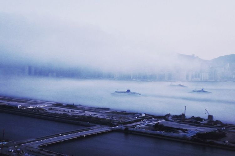 High angle view of Kowloon Bay in foggy weather