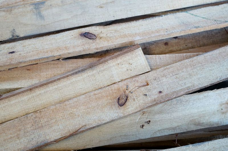 High angle view of wooden plank