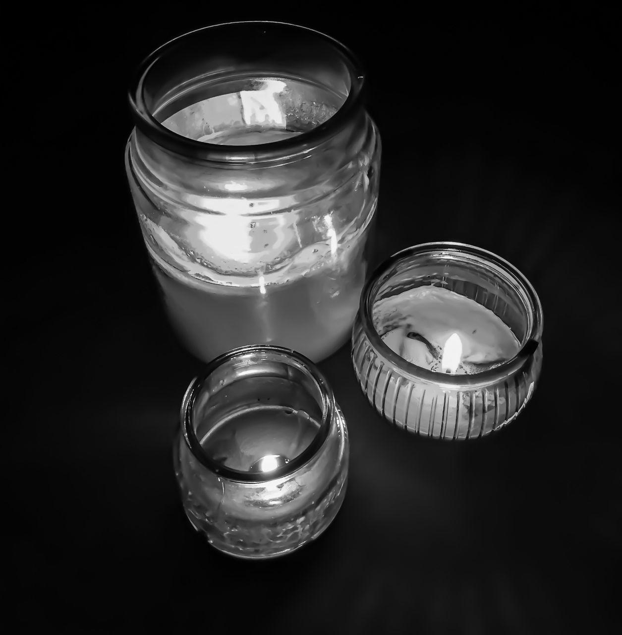 candle, tea light, no people, flame, burning, studio shot, lid, close-up, indoors, black background, day