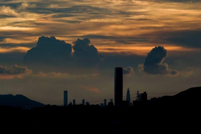 Sunset Silhouette Cloud - Sky Skyscraper City Afterglow Sunset_collection Sunset Silhouettes Sunset #sun #clouds #skylovers #sky #nature #beautifulinnature #naturalbeauty #photography #landscape Fujifilm_xseries Fujifilm