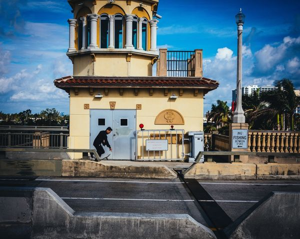 The Skateboarder Transportation Skateboarding Streetphotography Bridge Florida Photographyisthemuse GFX50s Architecture Built Structure Building Exterior Sky Cloud - Sky Day Real People Outdoors One Person City One Man Only