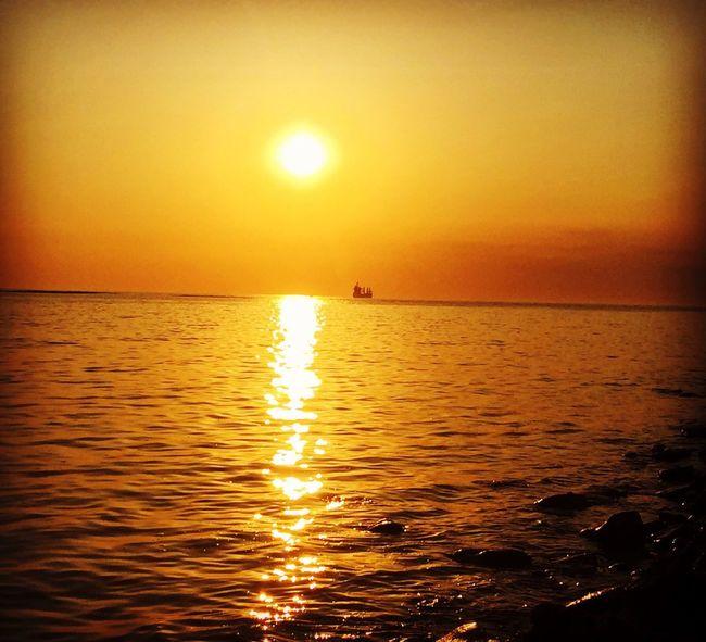 sunset 🌅💛💛💛 Sunset Sea Outdoors Water Sunsetphotographs I Love Sunsets