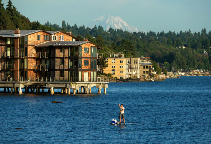 Adventure Architecture Blue Water Blue Wave Boat Building Exterior Built Structure People And Places Idyllic Idyllic City Kayak Kayaking Nature Nautical Nautical Vessel Outdoors Paddleboarding Paddling Residential District Residential Structure Rippled Seascape Seattle's Best Water Waterfront Adapted To The City Live For The Story Be. Ready. Mobility In Mega Cities