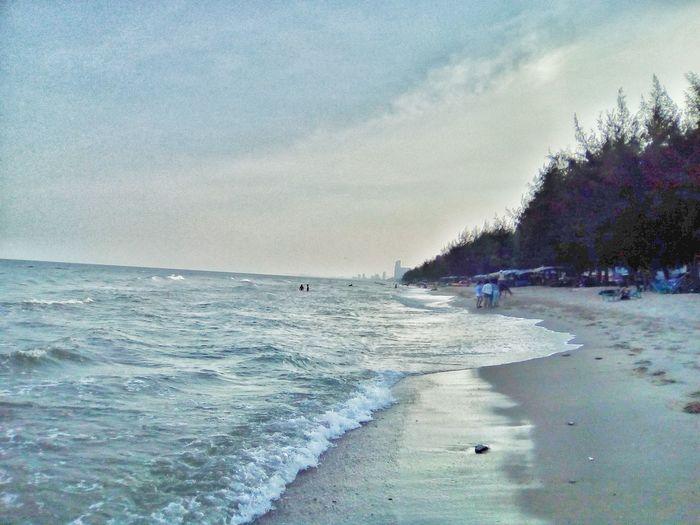 Sea Nature Beach Sky Sand Outdoors Water Wave Vacations Holiday Thailand Petchaburi Cha-Am Beach Cha-am Nature