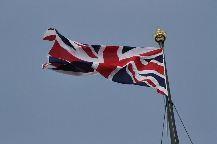 United Kingdom Blue Blue Sky Clear Sky Day England Flag Flag Pole Flags Flags In The Wind  Fluttering Low Angle View No People Outdoors Patriotism Red Sky Striped Uk Wind Postcode Postcards