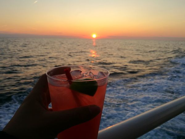 Sunset Sea Drink Alcohol Refreshment Outdoors Sky Cocktail Summer Horizon Over Water USA Beautiful Nature