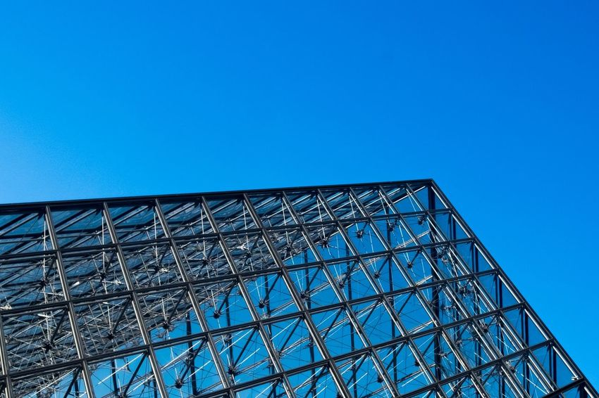 Pyramid Museum Beingatourist  Blueskies Steelandglass Modern Minimalism Negativespace Blue Geometry Geometricpattern Archidetails Architecture Modernarchitecture Urbandesign Looking Up