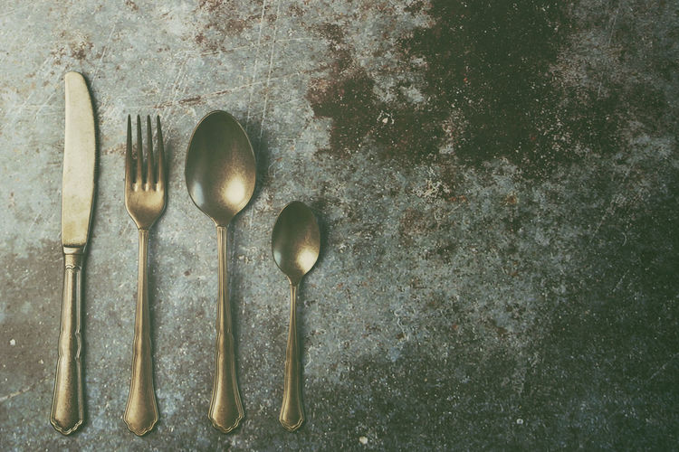 Kitchen Utensil Eating Utensil Household Equipment Spoon Still Life No People Cooking Utensil Close-up Steel Cutlery Vintage Old Menu Restaurant Backgrounds Rustic Food Preparation  Knife Fork Kitchen Background Utensil Breakfast Dinner Dinner Time Tableware Bright Object Retro Silverware  Setting Lunch Catering Design Set Decoration Spoon