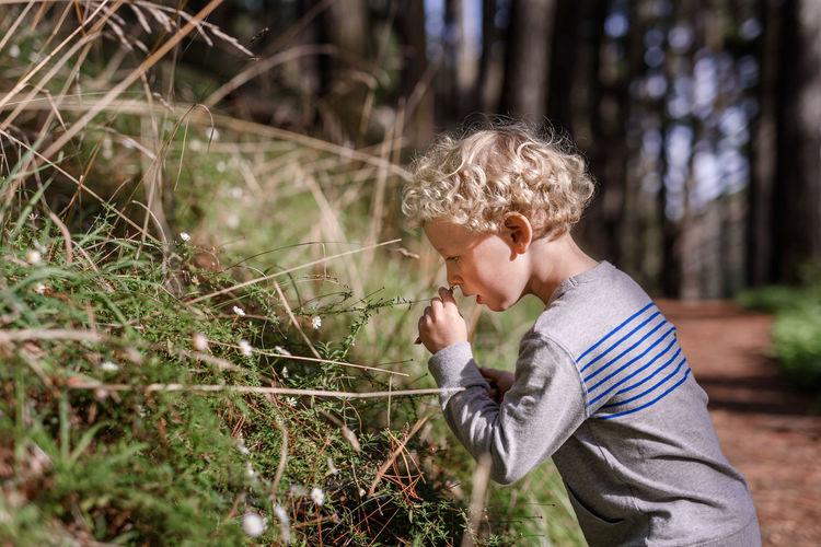 Full length of boy holding plant