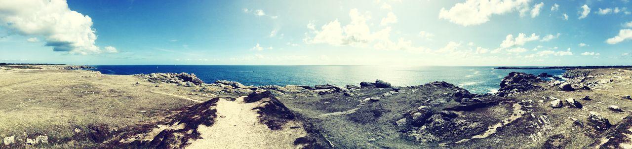 Balade dans la côte sauvage Sea Sky Horizon Over Water Nature Cloud - Sky Scenics Day Beauty In Nature Tranquility No People Water Rock - Object Tranquil Scene Beach Outdoors Sunlight Landscape Ile D'Yeu Vendée Côté Sauvage