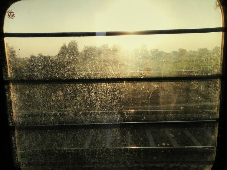 Traveling Home For The Holidays Train Window Indianrailwaysdiaries Faint Reflection Mustard Fields Obscure Sunset
