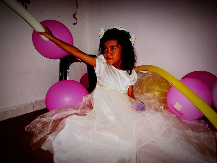 Bitrhday GirlAt birthday One Girl Only Children Only Balloon Indoors  White Gown Be. Ready.