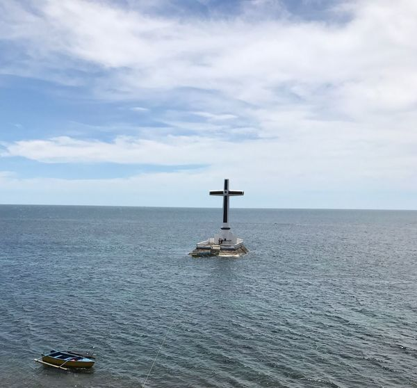 Sky Sea Water Beauty In Nature Nature Horizon Over Water Lighthouse Cloud - Sky No People Scenics Outdoors Tranquility Day Camiguin Philippines Sunken Cemetery