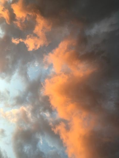 Cloud - Sky Sky Orange Color Sunset Beauty In Nature Low Angle View Tranquility No People Dramatic Sky Cloudscape Outdoors Backgrounds