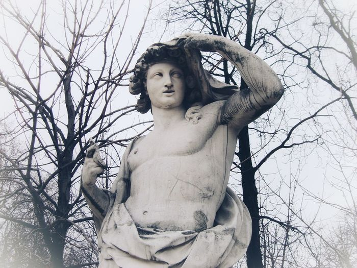 Wintertime, cold weather Weather Cold Cold Temperature Cold Day Cold Weather Climate Statue Sculpture Bare Tree Tree Branch Branches Low Angle View Beauty Outdoors Day No People Torso Human Representation Male Male Likeness Symbolic  Winter_collection Winter Wintertime