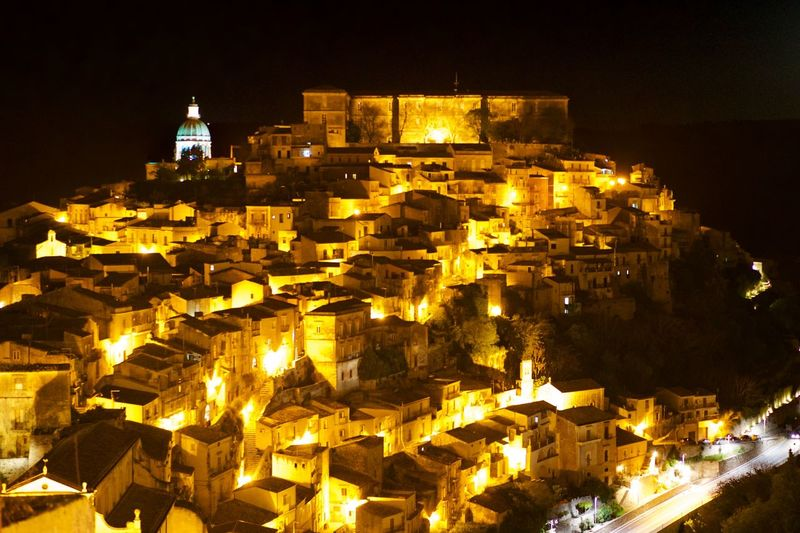 night shot of Ibla Architecture Beauty Building Exterior Built Structure City Cityscape Contrast EyeEm Best Shots History I Lile It ❤ Ibla Illuminated Italy Long Exposure Magic Night No People Outdoors Sicilia Sicily Sicily, Italy Sky Travel Destinations WOW Yellow