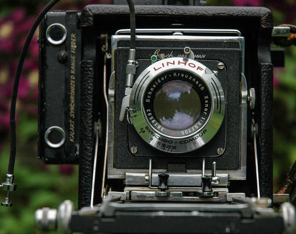 BUSCH PRESSMAN large format camera with a Linhof lens. Film Camera - Photographic Equipment Close-up Electronics Industry Film Photography Filmcamera Large Format Linhof Old-fashioned Photography Themes Pressman Retro Styled Technology Vintage Vintage Camera